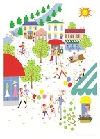 賑やかな街並みに集まる人々 20037005584| 写真素材・ストックフォト・画像・イラスト素材|アマナイメージズ