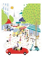 賑やかな街並みに集まる人々 20037005585| 写真素材・ストックフォト・画像・イラスト素材|アマナイメージズ