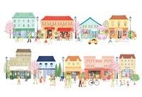 桜咲く街並みと人々