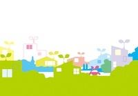 カラフルな住宅と車のエコイメージ