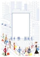 ビルの中央にある看板を眺める人々