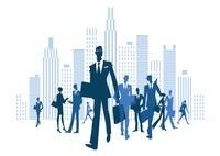 ビルや背に立つビジネスマンと女性 20037005694| 写真素材・ストックフォト・画像・イラスト素材|アマナイメージズ