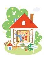 家の窓から手を振る家族と犬 20037005701| 写真素材・ストックフォト・画像・イラスト素材|アマナイメージズ