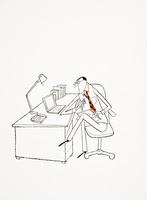 ノートパソコンを眺める男性