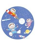 宇宙で楽しむ子供たち