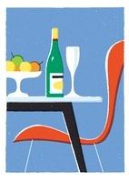 ワインや果物と赤い椅子