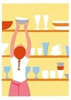 お皿をとる女性