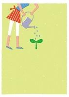 双葉に水をかける女性 20037006482| 写真素材・ストックフォト・画像・イラスト素材|アマナイメージズ