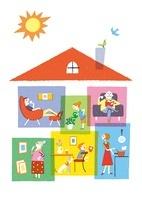 家の中でそれぞれ過ごす三世代家族 20037006505| 写真素材・ストックフォト・画像・イラスト素材|アマナイメージズ
