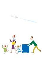飛行機と旅行にでかける家族