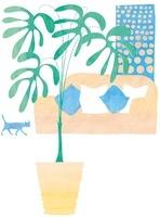 ソファと観葉植物のあるインテリア