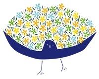 羽を広げた鳥と花束 20037006663| 写真素材・ストックフォト・画像・イラスト素材|アマナイメージズ
