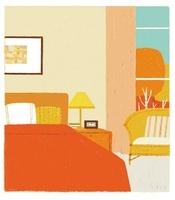 大きな窓のある寝室とオレンジのベッド