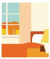 大きな窓のある寝室とオレンジのベッド 20037006695  写真素材・ストックフォト・画像・イラスト素材 アマナイメージズ