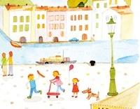 運河のある街並みで遊ぶ子供たち