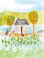 湖畔に建つ家と男性