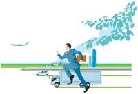 ビルを背景に新幹線と飛行機と車と走るビジネスマン