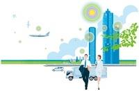 高層ビルと新幹線や車とビジネスマンと女性