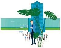 高層ビルと考えるビジネスマン
