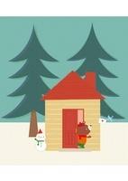 手紙を届ける鳥とゆきだるまのある家に住むクマ 20037006786| 写真素材・ストックフォト・画像・イラスト素材|アマナイメージズ