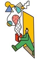 扉から出る男性と箱から出る幾何学な模様