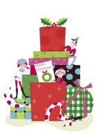 クリスマスのプレゼントボックスと家族