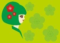 梅の花飾りを付けた和風の女性の横顔