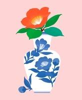 一輪の椿をいけた花瓶 20037006906| 写真素材・ストックフォト・画像・イラスト素材|アマナイメージズ