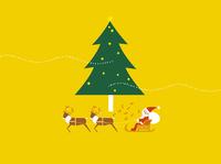 大きなクリスマスツリーとトナカイのそりに乗ったサンタ 20037006929| 写真素材・ストックフォト・画像・イラスト素材|アマナイメージズ