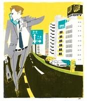携帯で話しながら歩くビジネスマン