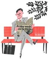 ベンチで新聞を読むビジネスマン