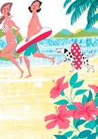 砂浜で水着姿で遊ぶ男女とイヌ