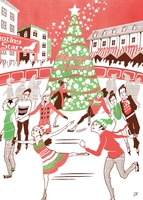 クリスマスツリーのあるスケートリンクで過ごす人々
