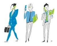 携帯を使う3人のビジネスマン