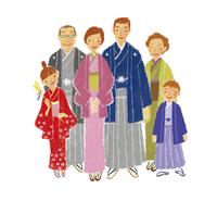 着物を着た三世代家族