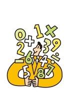 数字や記号とビジネスマン