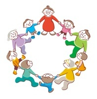 輪になって手をつなぐ三世代家族 20037007142| 写真素材・ストックフォト・画像・イラスト素材|アマナイメージズ