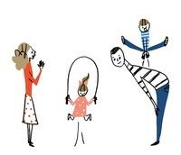 縄跳びをする女の子と父親の背を飛び越える男の子と母