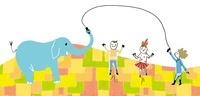 ゾウと長縄跳びをする子供たち
