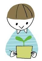 芽を育てる男の子 20037007153| 写真素材・ストックフォト・画像・イラスト素材|アマナイメージズ