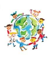 地球を囲んで手をつなぐ多国籍な子供たち