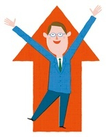 矢印の前で手をあげて喜ぶビジネスマン