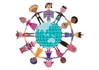 地球を囲んで手をつなぐ多国籍な衣装を着た人々