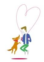 縄跳びをする犬と男性