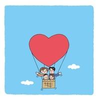 ハートの気球に乗る家族と青空