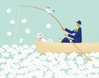 花の湖で釣りをする男性とネコ