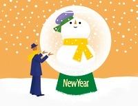 スノードームの中の雪だるまと男性