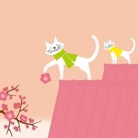梅の花と2匹の猫