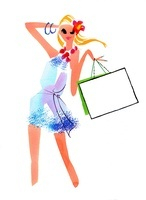 ショッピングバッグを持ってこちらを見る女性