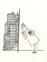 高層ビルとプレゼントボックスを持つビジネスマンとネコ
